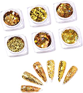 JUCOO Nail Art Stickers Aurora White Sequins Nail Art Glitter Powder Mermaid Dust Small Flakes Decorations For DIY Nails G...