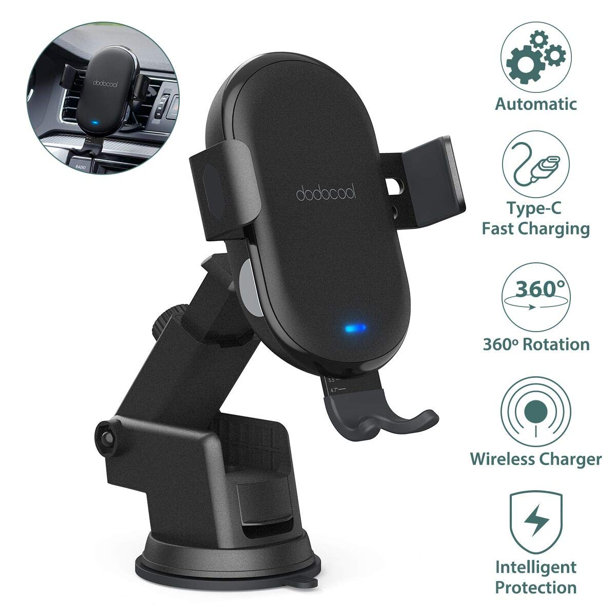 dodocool Wireless Car Charger Mount, 10W7.5W5W Qi Fast Charger Phone holder with Automatic Clamping Air Vent Dashboard Mount for iPhone 1111 Pro11