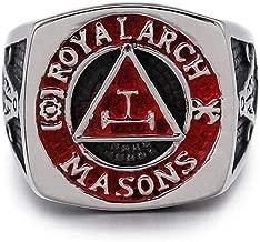 Gungneer Round Masonic Ring Multi-Size Stainless Steel Freemason Jewelry for Men