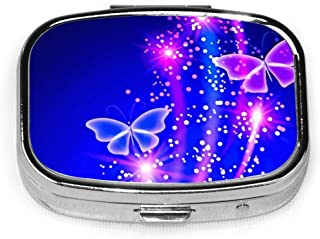 Purple Butterfly Custom Fashion Rectangle Pill Box Compact 2 Space Tablet Holder Pocket Purse Organizer Case Decoration Box