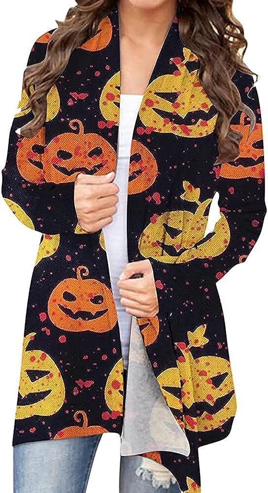 Women Halloween Cardigan Black Cat Pumpkin Ghost Graphic Long Sleeve Open Front Long Sweater Coat Lightweight Blouse Top (Orange Pumpkin, XL)