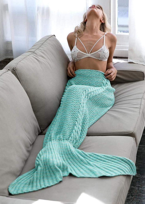 JINGB Home Mermaid Knit Mermaid Tail Sofa, Green, 180  90cm (71  35.4 inch) (color   The Green, Size   180  90cm)