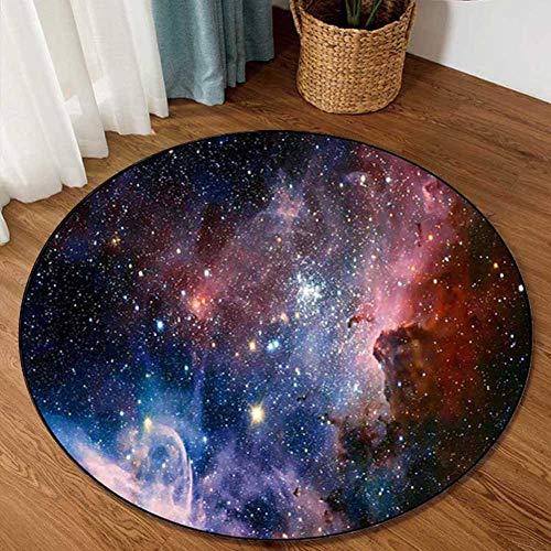Fancytan Alfombra Redonda con diseno de Estrellas de Nebulosa de Universe Space para Sala de Estar, Estudio, Dormitorio de los ninos, Starry Sky, 120 cm Diamete