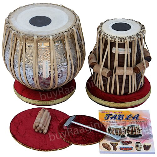 Maharaja Ganesha Art Tabla Drum Set Bayan de cobre, 4½ kg, mejores Dayan con bolsa acolchada, libro, martillo, cojines & Cover (pdi-di)