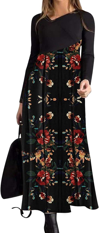 Bonny Billy Women's Casual Color Block X-Neckline Maxi A-line Dress