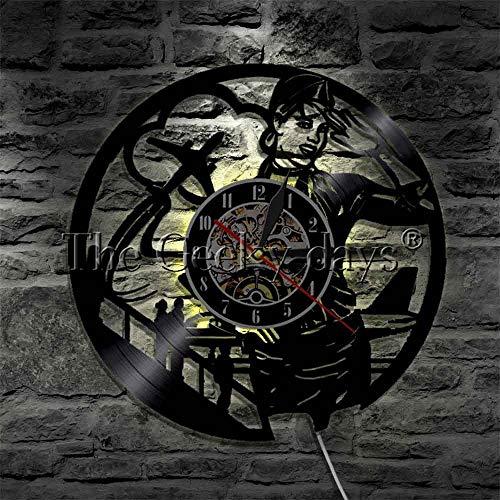 JXCDNB Azafata Legado Reloj de avión azafata Recuerdo Reloj de Pared Hermosa Dama Noche luz decoración del hogar 12 Pulgadas