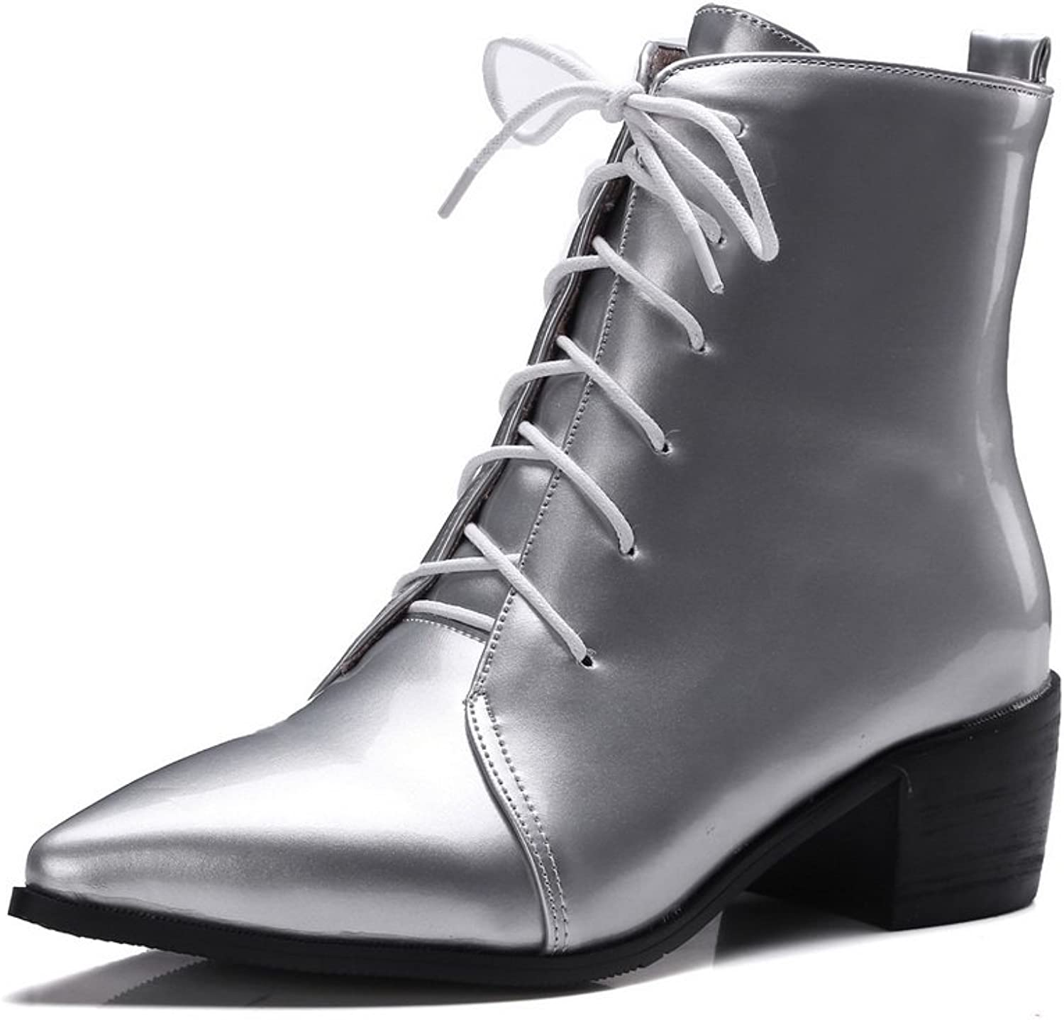 AdeeSu Ladies Lace-Up Mule Kitten-Heels Patent Leather Boots