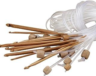 12Tailles afghan tunisien Crochet crochets aiguilles à tricoter en bambou carbonisé 121,9cm Long to259