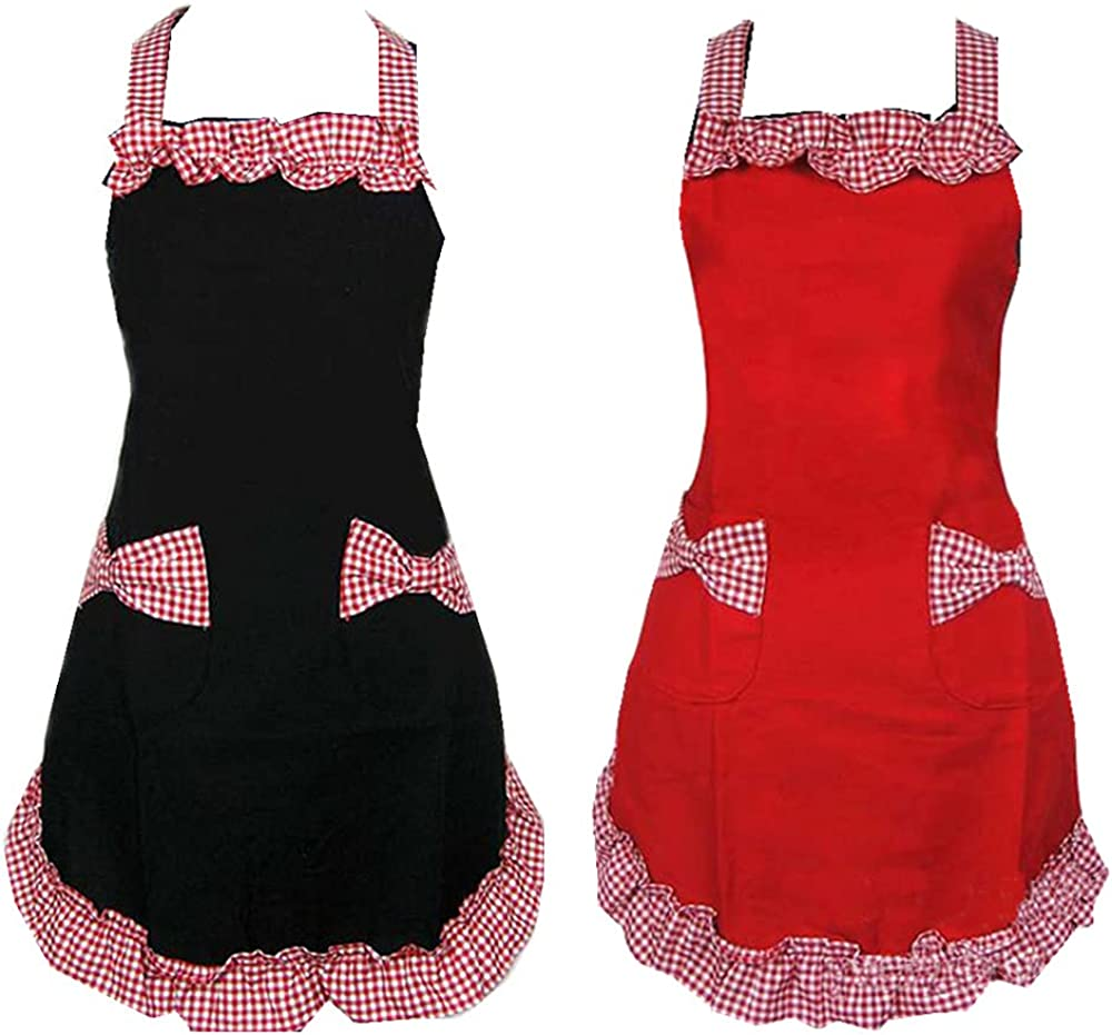 2pcs Lady's Kitchen Fashion Flirty Cute Retro Lovely Vintage Women's Cooking Retro Aprons with Pockets Black Patterns for Mother's Day Gift