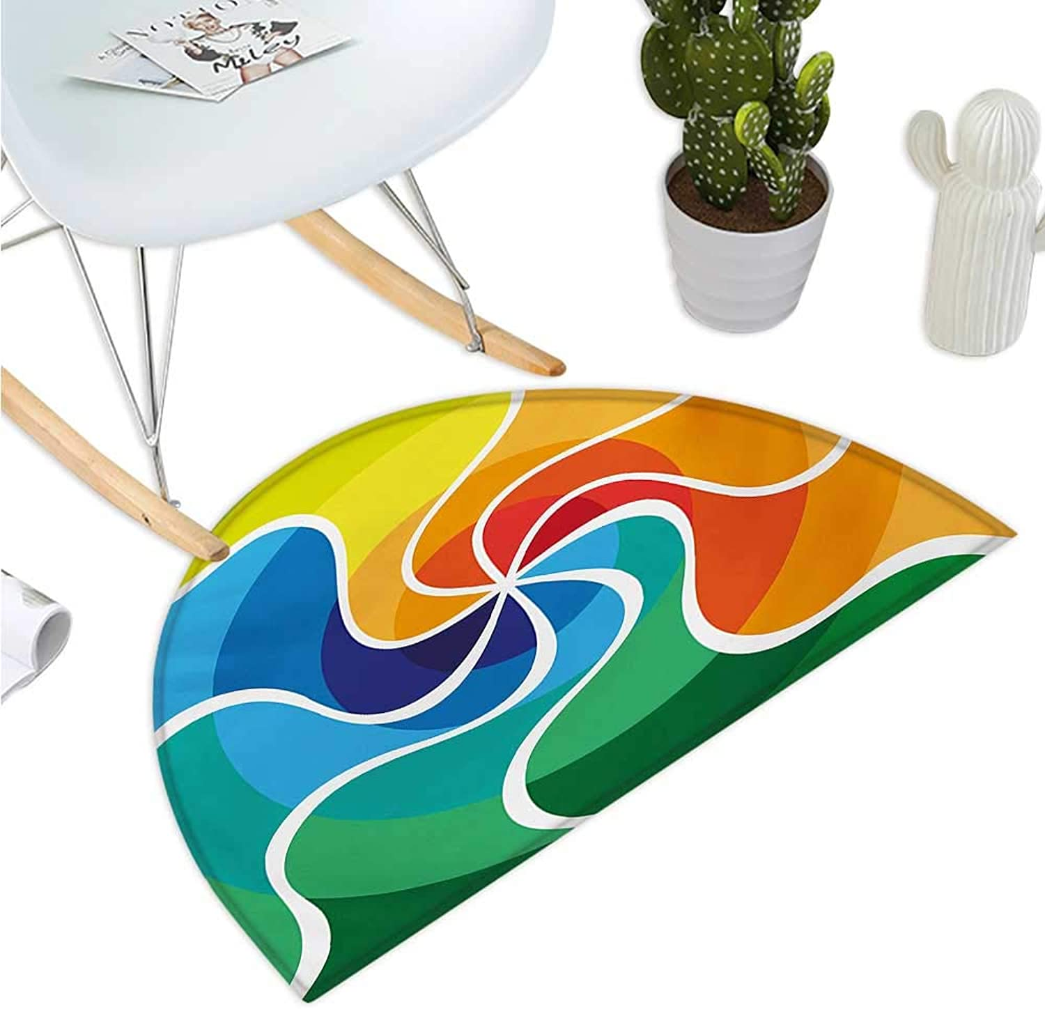Psychedelic Semicircular Cushion Rainbow colord Spiral Gradient Wind pink Psychedelic Display Surreal Artisan Entry Door Mat H 39.3  xD 59  Multicolor