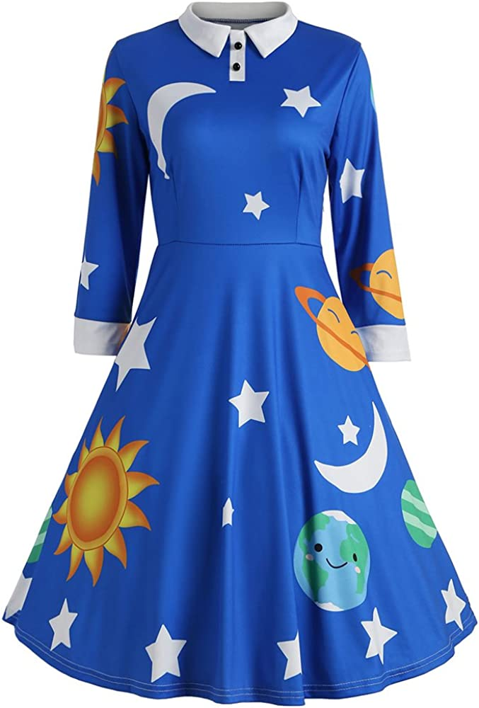 ZAFUL Import Women's Vintage Fashionable Peter Pan Collar Print Line A Planet Flare