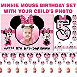 BLOUR Fondo de Foto Personalizado Minnie Mouse cumpleaños Set, Banner, Etiquetas para Botellas de Agua, Adornos para Cupcakes, Pegatinas