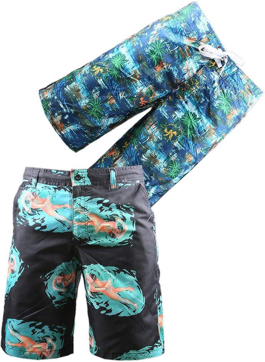 BG 2-Pcs Pack Men's Vintage Rash Guard Beach Multicolor Novelty Quick Dry Board Shorts