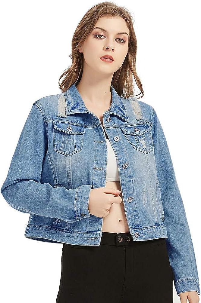 Distressed Denim Ranking TOP9 Sale price Jacket Blue Oversized Women Rip for Jean
