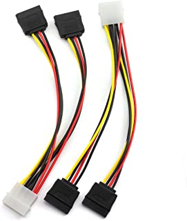 SDTC Tech 4 Pin Male IDE Molex to 15 Pin Female Dual SATA Power Splitter Adapter Cable 18AWG Copper Serial ATA Hard Drive ...