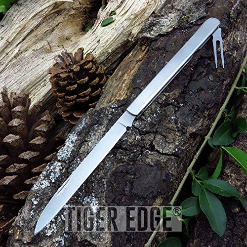 Portable Tactical Folding Pocket Knife 10.25' Silver Stainless Steel Fruit Sampler + Fork
