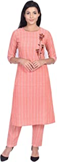 SSARA Women's Khadi Cotton Striped Print Embroidered Straight Peach Kurta With Pant Set