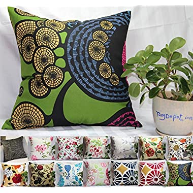 TangDepot 100% Cotton Floral/Flower Printcloth Decorative Throw Pillow Covers/Handmade Pillow Shams - (18 x18 , S14 Tree Rings)