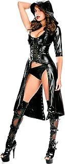WONDER BEAUTY Mujer PVC Cuero Catsuit Wetlook Látex Monos Sexy Erotica Encapuchado Capa Disfraz Clubwear