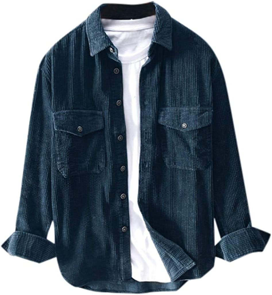 Mens Casual Long Sleeve Flannel Shirts Lightweight Button Down Corduroy Shirts Jackets Designer Loose Tops