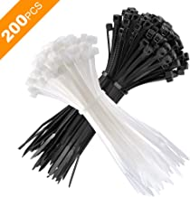 200PCS Zip Ties, 4 Inch Nylon Cable Ties for Small Cables Management, Premium Plastic Ties with 18 Pounds Test, Resealable Storage Bag Included, White and Black, By Itrk Supply