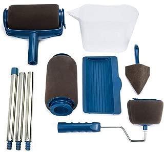Vaughenda Paint Roller Brush Kits,8 Pcs DIY Roller Paint Brush Long Handle Tool Flocked Edger Wall Printing for Home Office