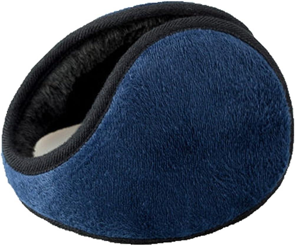 Men Women Outdoor Winter Warm Earmuffs Behind-the-Head Ear Muffs, Dark Blue