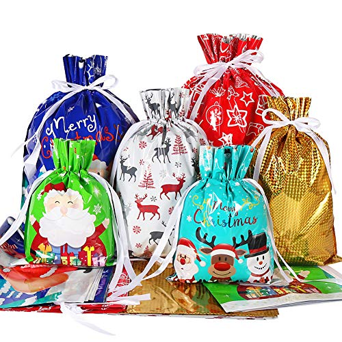 Holiday Drawstring Gift Bags, 30pcs Christmas Foil Gift Wrapping Sacks Pouches for Xmas Presents Party Favor (Large Medium Small)