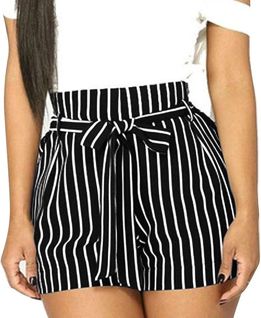 MISYAA Shorts for Women Vertical Pa Pumpkin High Stripe Cheap mail Max 49% OFF order shopping Waisted