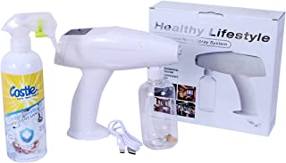Spray nano gun sanitizer fogger disinfectant portable bottle kit atomizer rechargeable ULV blue light for home office clot...
