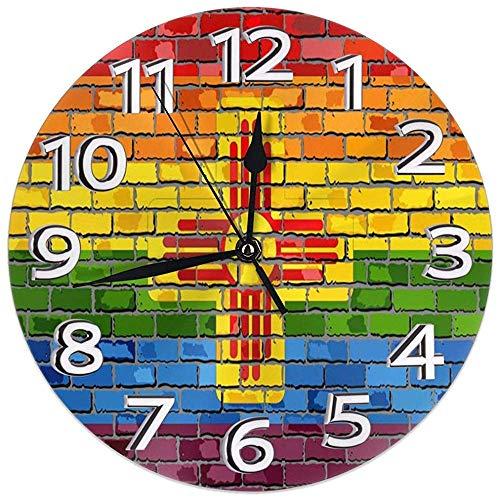 Kncsru Reloj de Pared de Banderas Gay de Pared de ladrillo de Nuevo México Relojes Decorativos Impermeables Reloj de Pared Redondo Duradero