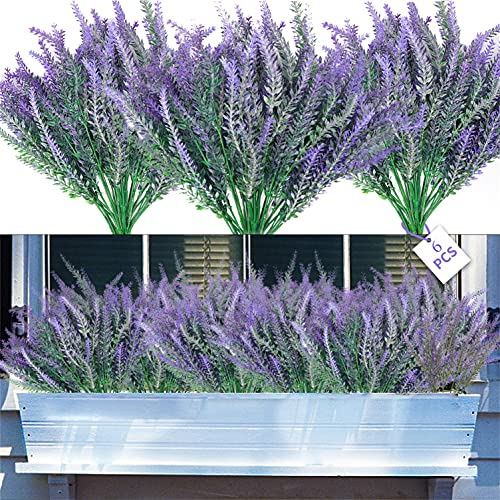 6 Bundles Artificial Lavender Flowers,Flocked Plastic Lavender Bundle ,Fake Grasses Plants for Indoor Outdoor Home Kitchen Office Table Decoration Garden Porch Window Box Decorating