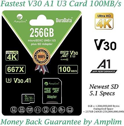 $38 Get 256GB Micro SD Card Plus Adapter. Amplim MicroSD SDXC Memory Card Pack (100MB/s 667X V30 A1 Class 10 U3 UHSI) 256 GB MicroSDXC TF Card Flash - Cell Phone, Drone, Camera, GoPro, Fire, Nintendo