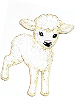 White Baby Lambs Sheep Cartoon Patch Logo Children's Clothing Sewing Embroidery Alpaca Goat Sheep Lamb ewe Farm Animal Fun Retro Embroidered Applique Iron-on Patch (29)