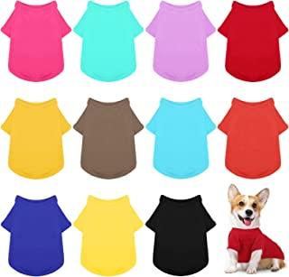 URATOT 12 Pack Cozy Dog Shirt Soft Pet Clothes Puppy Apparel Dog Blank T-Shirt for Small and Medium Puppies, Dogs, and Oth...