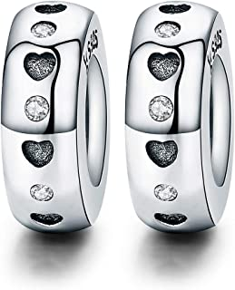 NINGAN Clip Charms Spacer Charm 925 Sterling Silver Charms Fit Pandora & Other European Bracelets and Necklaces