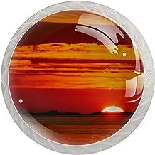 Sunset Oranje Set van 4 Lade Knoppen Trekt Kast Handvat voor Thuis Keuken Garderobe Kast Home Decor Hardware Pull Knoppen