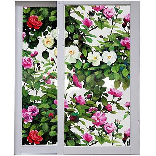 xinyawl Fensterfolie Rose Multiflora Muster Fenster Film Ölgemälde Garten statische Cling Privatsphäre Schutz Home Decoration Wiederverwendbare abnehmbare Film 92cmx100cm