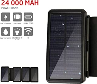 PowerLocus Solar Charger � [4 Efficient Panels] USB-C 24000mAh Waterproof Solar Battery Charger for Emergency, Portable Solar Power Bank Wireless Battery Charger for Phones/Tablets/GPS/Camping,etc.