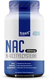 NAC Supplement - N Acetyl Cysteine - Strongest DNA Verified - Nacetyl Cysteine Amino Acids Anti Aging, Glutathione, Oxidative Stress, Detox, Free Radicals - Pure NAC Powder in 90 capsules - Vegan Safe