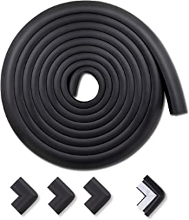 Edge & Corner Guards Baby Proofing Foam - Safety Furniture Bumper Table Protectors - Corner Cushion Set 16.2 ft(15 ft Edge + 4 Corners, Black) - MEETBABY