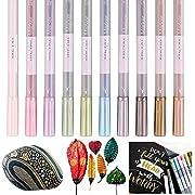 Metallic Marker Pens, QMINUS 10 Stück Metallic Permanent Marker für Kartenherstellung DIY Fotoalbum Gästebuch Gebrauch auf irgendeiner Oberfläche-Papier Glas Kunststoff Keramik