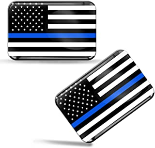 Skino 2 x 3D Domed Silicone Flag Thin Blue Line USA American Star Car Moto Helmet Stickers Decals F 46