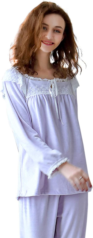 Women's Sexy Autumn Winter Pajamas Simple Elegant Long Sleeve Loungewear with Lace Ideal for Ladies Girls Nightwear,Purple