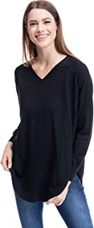 Alexander + David A+D Womens V-Neck Knit Sweater Blouse - Extra Soft Rounded Hem Pullover Top