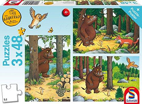 Schmidt Spiele Puzzle 56211 The Gruffalo Wer hat Angst vom Grüffelo, 3 x 48 Teile Kinderpuzzle, bunt, vorm