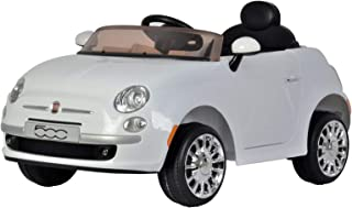 KidPlay Products Girls Ride On Car Fiat 500 White 12V Battery Rideable Kids Car