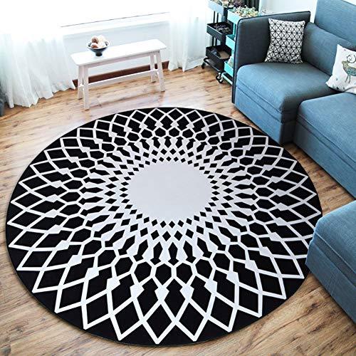 WANGXN Geometrische Rund Teppich Muster 3D-Drucken Küchenboden-Matten-Gym Spielmatte Schlafzimmer Teppiche Rund Vorleger,200cm