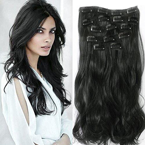 Extensiones de cabello Natural de 56 cm Neverland cabeza clip en extensiones largo(pelo ondulado, 7 piezas), color negro