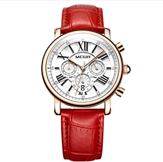 Quartz Watch, Ladies Retro Mechanical Watch, Multi Function Waterproof Chronograph Calendar Watch, Alloy Dial Leather Wristband, Red, White